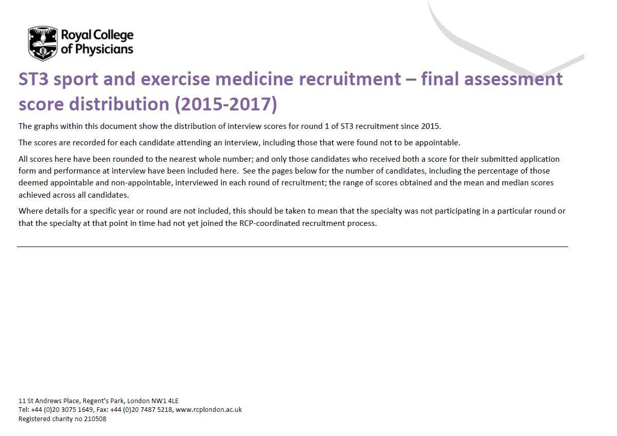 Sport & exercise medicine | ST3 Recruitment - Full, comprehensive ...