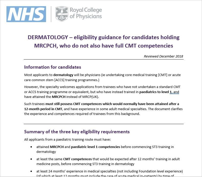 Dermatology | ST3 Recruitment - Full, comprehensive guidance on
